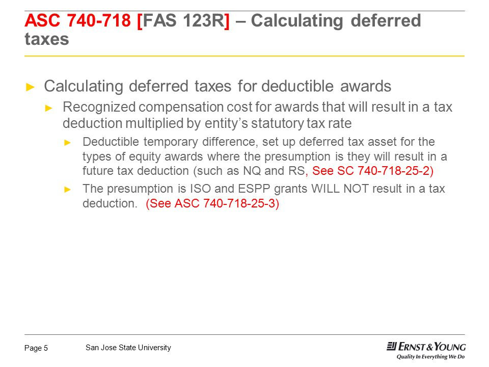 ASC 740-718 [FAS 123R] – Calculating deferred taxes